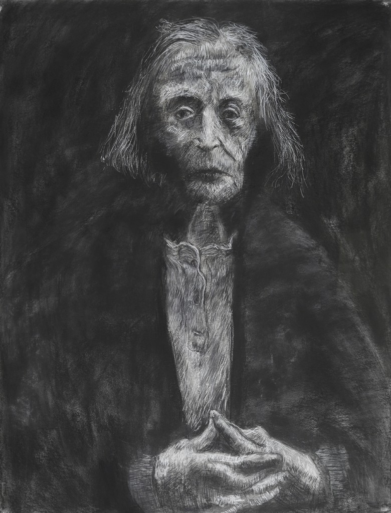a drawing of an older adult with chin length hair wearing a white shirt and a dark sweater.