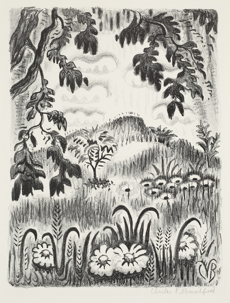 A landscape print with flowers at the bottom, a tree on the left hand side, and a hill in the background.