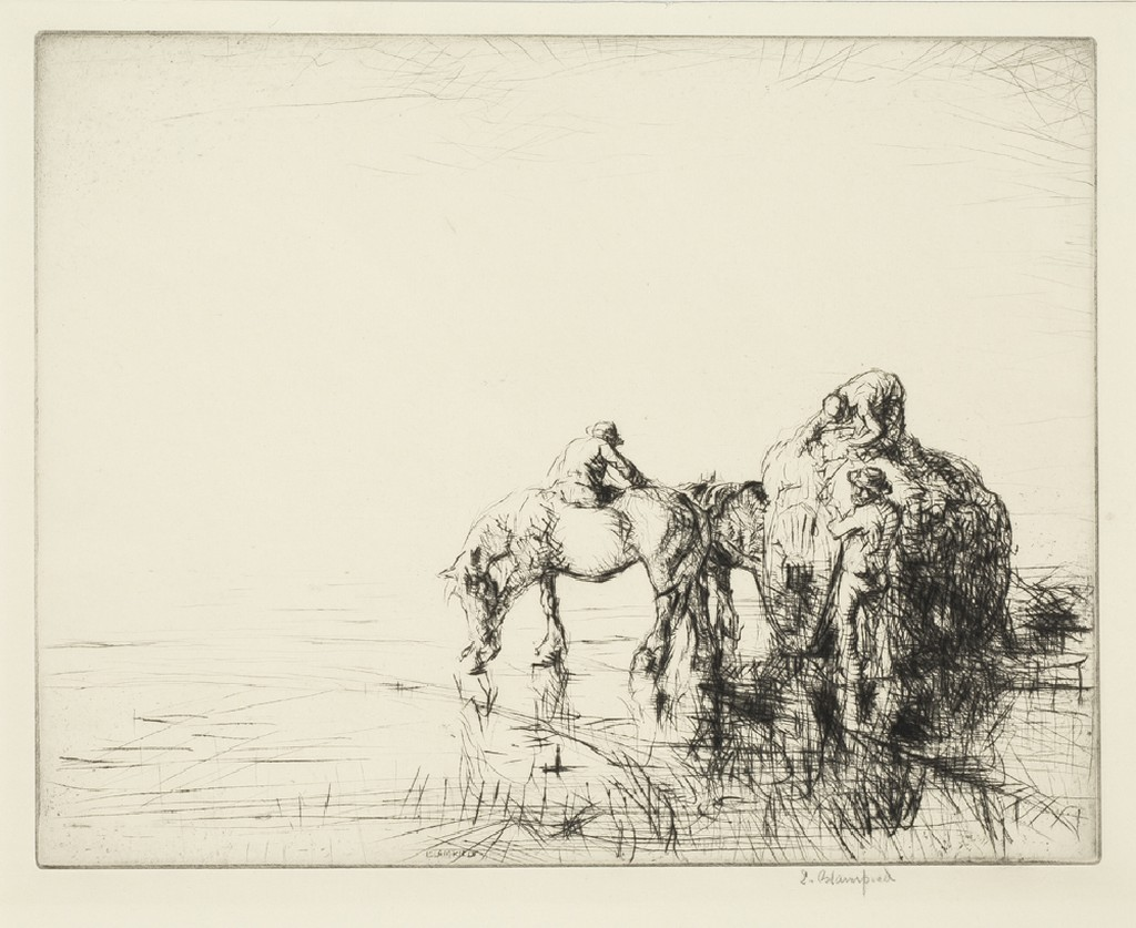 three men, a horse, and a wagon full of straw