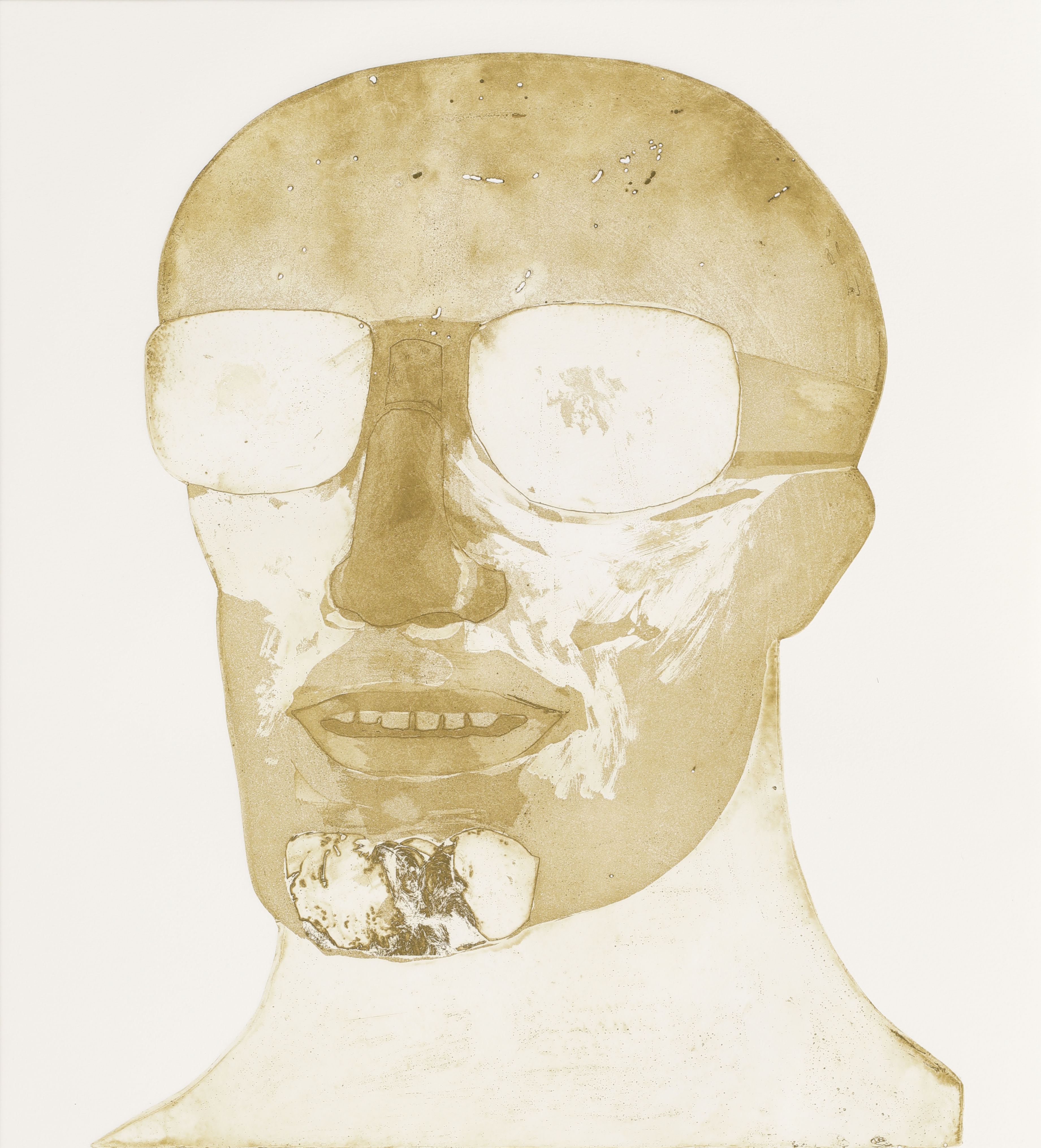 Elisabeth Frink. Goggled Head. 1973. Etching and aquatint on paper, 6/52.