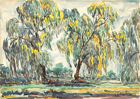 two willow trees with long branches