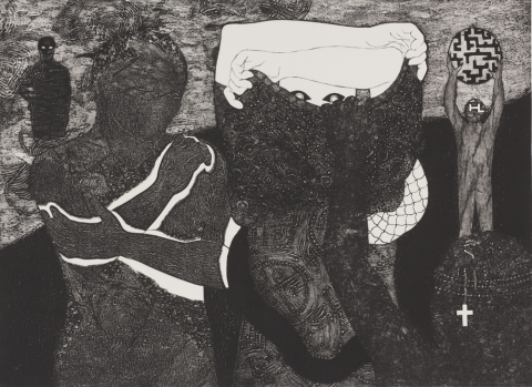 Belkis Ayon Manso. Sikan (Mujer quitándose la ropa), 1999. Collagraph on paper, 6/15