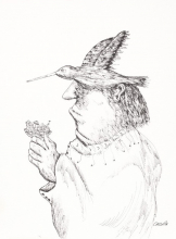 A man with a bird on his head
