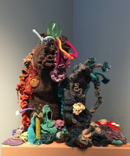 Lehigh Satellite Reef (detail).  Photo by Mark Wonsidler from Crochet Coral Reef Exhibition
